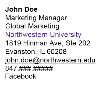 Email Signature: Brand Tools - Northwestern University