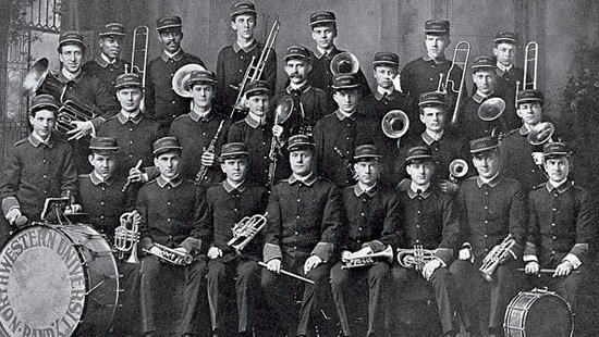 1911 - Northwestern's marching band was established when 21 men performed at the season's first football game against the University of Chicago.