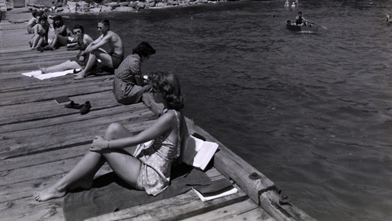 1943 - Although naval training became the main activity on both campuses during the war, the beaches were still used by student sunbathers.
