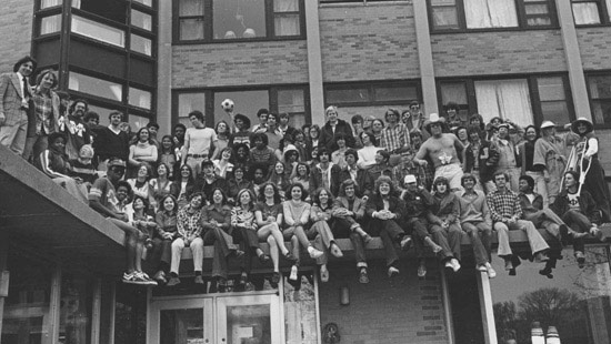 1970s - Students sitting on the exterior of Elder Hall, which was one of several residence halls built to ease Northwestern's housing shortage between 1950 and 1970.