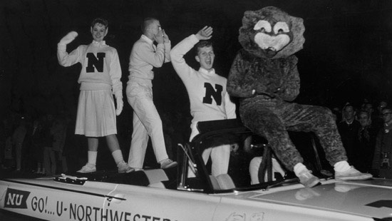 "1960 - Decades after his appearance on the sidelines, Willie the Wildcat rides in a Homecoming parade. Northwestern athletes were first called ""wildcats"" after a 1924 game against the University of Chicago."