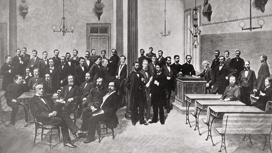 1877 - Class photo of law students, then named the Union College of Law, with the faculty.