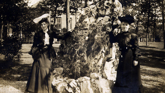 "1902 - ""The Rock,"" a six-foot-high quartzite boulder, was a class gift from the Class of 1902. Fraternity and sorority members began painting the Rock as a prank in the 1940s, and ever since, camping out and painting it has become an accepted tradition."
