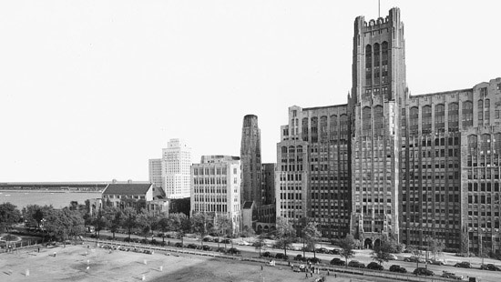 1925 - The University breaks ground on its new Chicago campus with donations from Elizabeth Ward, widow of magnate Montgomery Ward, among others. The Ward Memorial Building became the largest University structure on the Chicago campus, and its profile set the tone for the collegiate Gothic campus.