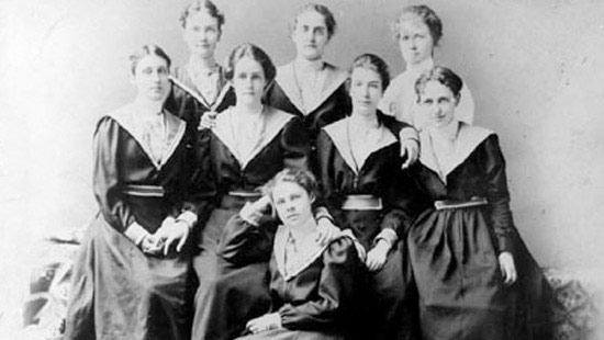 1898 - Photo of the Women's Basketball Team. While female students engaged in some forms of physical activity, their athletic endeavors were closed to spectators.