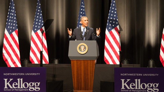 President Obama visits Northwestern.
