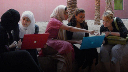 Students working together in Qatar