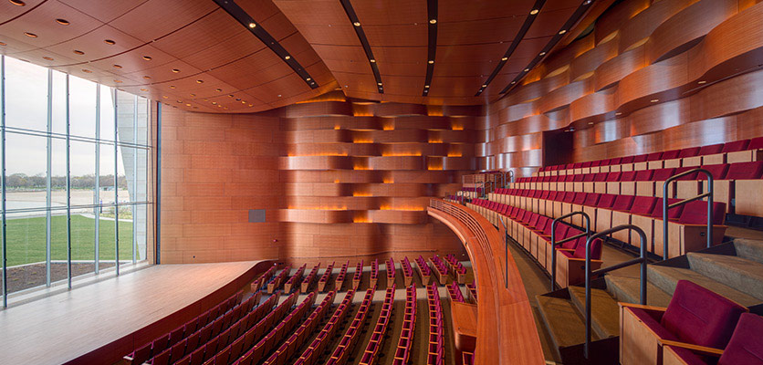 Picture of a recital hall inside the new music building