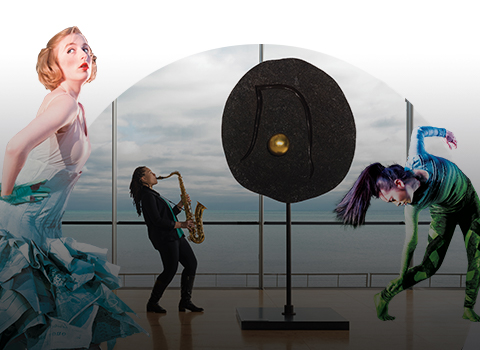 Dancers, sculpture, and a saxophone player