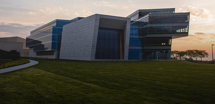images of the Evanston campus, Chicago campus, and Doha campus