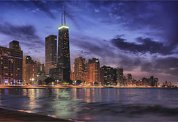 Chicago campus skyline at night