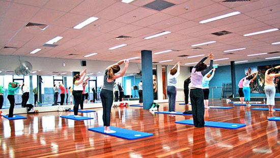Yoga class exercising