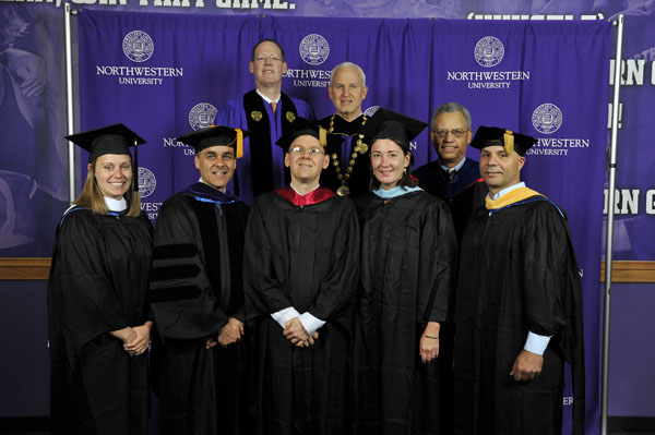 Winners of the 2012 Distinguished Secondary Teacher Award with President Schapiro, Special Assistant to the President Eugene Lowe, and Commencement Speaker Paul Farmer.