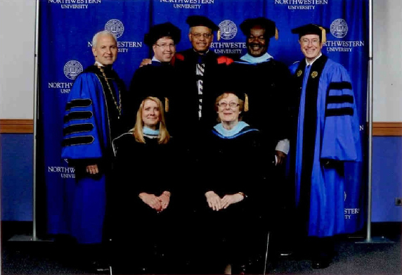 Winners of the 2011 Distinguished Secondary Teacher Award with President Schapiro, Special Assistant to the President Eugene Lowe, and Commencement Speaker Stephen Colbert.
