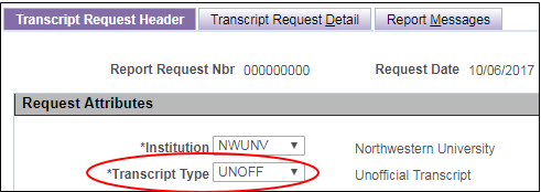 Request Transcript Header Page