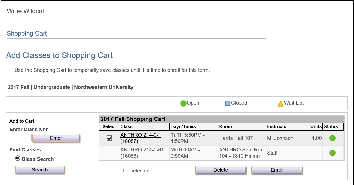 Class Added to Shopping Cart
