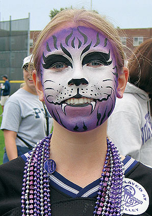 Wearing the game face at Wildcat Alley