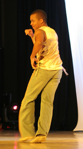 Micah Boon in performance at the Chicago Salsa Congress in February.