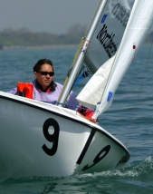 Ashley Metz sails a two-person Collegiate 420 during the 2005 Midwest Collegiate Sailing Association Team Race Championships in Evanston.