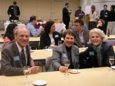 Ray Loeschner (GSESP57, 62) and his wife, Nancy, joined Ann Debes (WCAS60), right, at the NU Club of West Michigan's March faculty speaker event on new media.