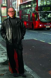 Lou Stein at London bus stop