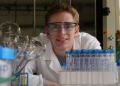 Joseph Hoover in chem lab