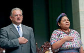 Rigoberta Menchú, right, 1992 Nobel Peace Prize laureate, sings the national anthem next to Guatemala
