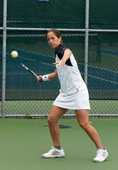 Cristelle Grier prepares for a forehand shot.