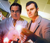 Gastroenterologist Hemant Roy, left, works with biomedical engineering professor Vadim Backman on a minimally invasive colon cancer–screening test that may be available to physicians in five years.