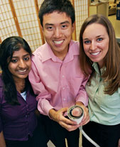 McCormick School of Engineering and Applied Science sophomores Kunj Raju Sheth, Adam Kim and Mallory Hammock tested new bubble formulations as part of Engineering Design and Communication