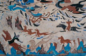 A deer jataka mural, circa 450 CE, from a Dunhuang cave. The mural narrates one of Buddha