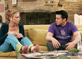 "Drea de Matteo as Gina and Matt LeBlanc as Northwestern alum wannabe Joey in ""Joey and the Big Audition."""