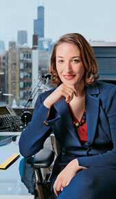 Genevieve Thiers in her office in Chicago's River North neighborhood.