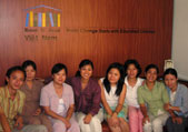 The Room to Read staff in Vietnam, based in Ho Chi Minh City, has established 161 libraries and 57 schools since its founding in 2001. Thuy Mong Pham, fourth from left, is the program director for Vietnam.