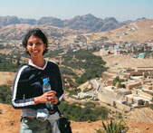 Gita Pullapilly visits Wadi Rum, Jordan. She went to Jordan to film a documentary on the 1948 Palestinian refugees who live in U.N. Relief and Works Agency camps there.
