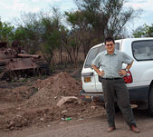 Along the road between Yei and Juba, Mills discovered an abandoned tank.